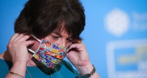 Northern Ireland first minister Arlene Foster: 'I hope that people work with us in a partnership approach the way in which we have worked at the earlier part of the pandemic so that we can try and break the transmission.'   Photograph:  Kelvin Boyes/Press Eye/PA Wire