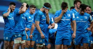 Leinster players after  the defeat to Saracens in the quarter-finals of the Heineken Champions Cup at the Aviva Stadium. Photograph: Dan Sheridan/Inpho