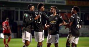 Marcus Rashford came off the bench to get Manchester United over the line at Luton last night. Photograph: PA