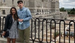History and geography teacher Leila Islam from Donegal and her fiancé Ivan Revilla in Madrid before things changed due to Covid-19