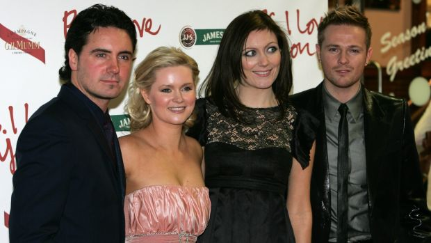 Cecelia Ahern with her husband David Keoghan, her sister Georgina Ahern, and Georgina's husband, Nicky Byrne, in 2007. Photograph: Frank Miller