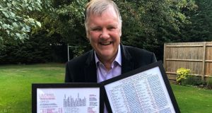 Clive Tyldesley with two of his commentary charts, which he sells online.