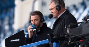 Clive Tyldesley commentating on the  Scottish Premiership match between Rangers  and St Mirren at Ibrox  in August. Photograph: Willie Vass/Pool via Getty Images