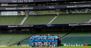 The Leinster team form a huddle after their loss to Saracens. Photograph: Billy Stickland/Inpho