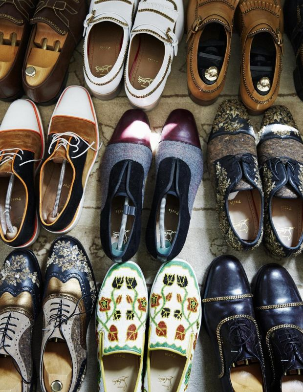 Shoes in the home of designer Christian Louboutin. Photograph: Simon Watson