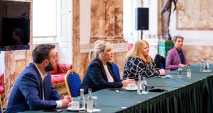 From left to right: SDLP's Colum Eastwood, Sinn Féin's Michelle O'Neill, Alliance Party's Naomi Long and Green Party's Clare Bailey in the meeting with Minister for Foreign Affairs Simon Coveney in Dublin on Thursday. Photograph: Tom Honan/PA Wire
