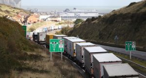 Lorries at Dover due to industrial action in Calais: Until very recently, there appeared to be a naive expectation that Irish lorries would be able to skip Brexit-created queues. Photograph: Gareth Fuller/PA
