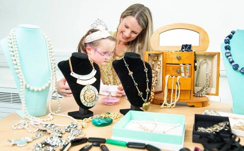 JEWEL PURPOSE: Elaine O'Riordan and her daughter Beth (3) at the launch of Enable Ireland's Jewellery Appeal at the Lavanagh Centre, Curraheen, Co Cork. Photograph: Gerard McCarthy Photography