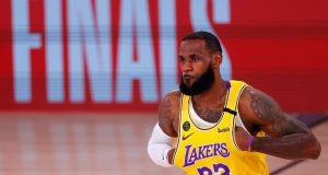 LeBron James and the LA Lakers are one win away from the NBA finals. Photograph: Mike Ehrmann/Getty