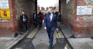 Taoiseach Micheál Martin visited the Oliver Bond Street flats complex with a pep in his step. Photograph: Julian Behal