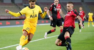 Tottenham's Dele Alli battles for possession with  Antonio Pavic of Shkëndija during their Europa League third round qualifying match in Skopje, Macedonia. Photograph: Srdjan Stevanovic/Getty Images