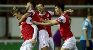 St Patrick's Athletic's Chris Forrester celebrates scoring his team's first goal. Photograph: Inpho