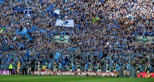 Dublin parade in front of the Hill ahead of last year's All-Ireland final replay against Kerry. Photograph: Billy Stickland/Inpho