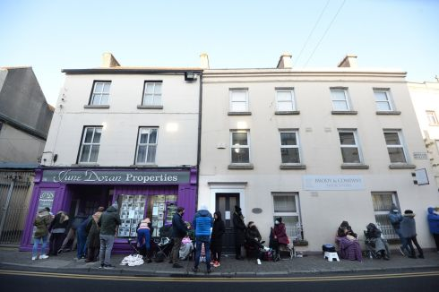 NEW PRIORITIES: A queue which formed overnight outside June Doran Properties, in Carlow town, for new homes being sold in Castle Oaks estate, in the town. Remote working linked to the Covid-19 pandemic has led to increased interest in living away from the capital. Photograph: Dara Mac Dónaill