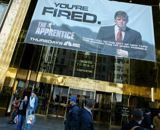 An advertisement for The Apprentice hangs on Trump Tower on Fifth Avenue in New York, March 23rd, 2004. Photograph: Richard Perry/The New York Times.