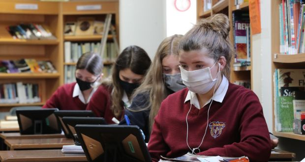 Student Ella Butler during class at St Mary's College in Naas, Co Kildare. It is using 'satellite' classes by splitting large classes into smaller ones. Photograph: Nick Bradshaw