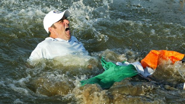 Paul McGinley in the water at the Belfry in 2002. Photograph: Jamie Squire/Getty