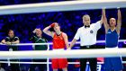 Estelle Mossely gets the verdict against Katie Taylor in 2016. Photograph:  Inpho