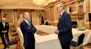 Minister for Foreign Affairs and Minister for Defence Simon Coveney meets US Special Envoy to Northern Ireland Mick Mulvaney at Dept of Foreign Affairs, Iveagh House