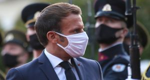"French president Emmanuel Macron: ""All of them bet on the worst-case scenario for the sake of saving themselves, the interests of their family or their clan."" Photograph: Petras Malukas"