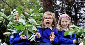 OUT OF THEIR TREE: At the launch of Tetra Pak Tree Day are Riley Durnin, Saoirse Gibson and Amber Hickey-O'Brien, senior infant students at Our Lady of Consolation School in Donnycarney, Dublin. The Tree Council of Ireland is calling on primary schools across the country to get involved and plant a tree this Thursday, October 1st. Photograph: Marc O'Sullivan