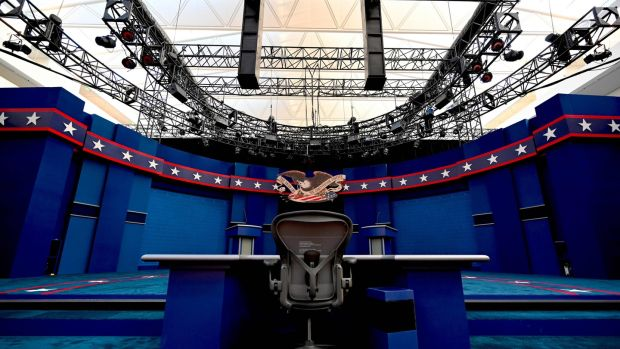 The moderator's seat during preparations at site of the first US presidential debate in Cleveland, Ohio. Photograph: Eric Baradat/AFP via Getty Images