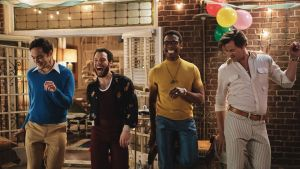 Jim Parsons, Robin de Jesús, Michael Benjamin Washington and Andrew Rannells in The Boys in the Band. Photograph: Scott Everett White/Netflix