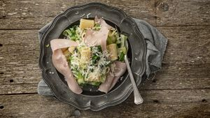 Rigatoni, cabbage, sage and mortadella. Photograph: Harry Weir Photography