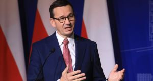 Poland's prime minister Mateusz Morawiecki:  'Nobody needs to teach us tolerance.' Photograph: Petras Malukas/AFP via Getty Images