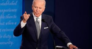 Democratic presidential candidate Joe Biden during the first US presidential debate in Ohio. Photograph: Morry Gash/AP Photo/Bloomberg