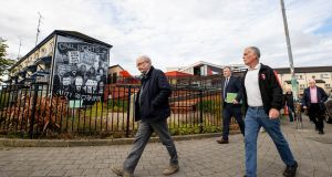 Bloody Sunday survivor Mickey McKinney, Gerry Duddy, solicitor Fearghál Sheils and John Kelly at the Bloody Sunday Memorial in the Bogside in Derry. The truth or justice model  does little to satisfy the bereaved. Photograph: Liam McBurney/PA