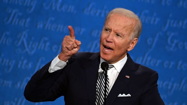 Joe Biden speaks during the first debate of the 2020 US presidential election in Cleveland, Ohio, on Tuesday. Photograph: Jim Watson/AFP via Getty Images