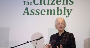 Dr Catherine Day hosting a  Citizens' Assembly session. A Citizens' Assembly could gather the community power of Irish society, in a way not seen since the foundation of the State, to together overcome the biggest threat in a century. Photograph: Dara Mac Donaill