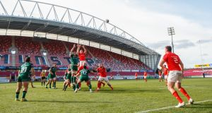 "Niall Scannell takes a lineout throw during the ""A"" Interprovincial at Thomond Park in Limerick between Munster A and Connacht Eagles. Photograph: James Crombie/INPHO"