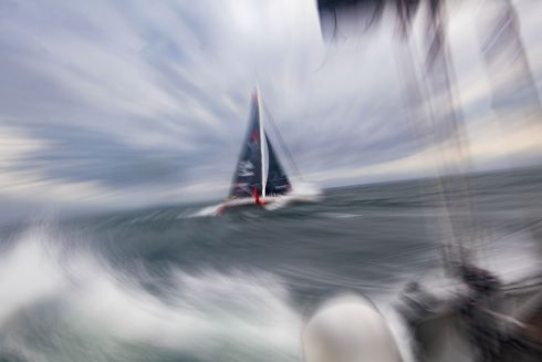 "SAIL AWAY WITH ME: German skipper Boris Herrmann sails his Imoca 60 monohull ""SeaExplorer"", off Port-la-Foret, western France, a few weeks prior the start of the Vendée Globe around the world solo sailing race. Photograph: Loic Venance/AFP via Getty Images"