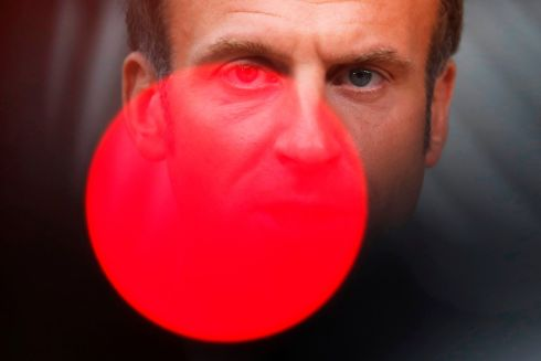 ON RED ALERT: French president Emmanuel Macron arrives for a European Union summit at the European Council building in Brussels. The first night of the extraordinary two-day EU summit will be dominated by the bloc's tricky ties with Ankara, which is embroiled in a dangerous maritime stand-off with Greece and Cyprus. Photograph: Francisco Seco/AFP via Getty Images