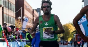 Mick Clohisey taking part in last year's Dublin Marathon in which he placed second. Photograph: Bryan Keane/Inpho