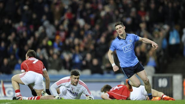 Dublin's Diarmuid Connolly after scoring his side's first goal in the 2016 Allianz Football League game against Cork at Croke Park. Photograph: Tommy Grealy/Inpho