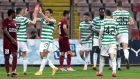 Celtic players celebrate Odsonne Edouard's goal during the Europa League clash against FK Sarajevo at the  Bilino Polje Stadium in Zenica. Photograph: Fehim Demir/EPA