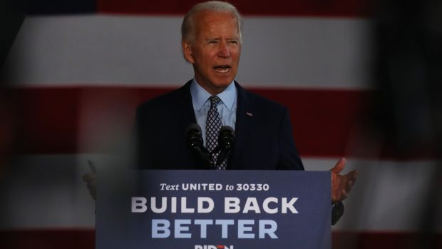 Joe Biden: his 'Scranton Joe' persona as an ordinary American who understands the everyday challenges of ordinary people, is likely to make him better placed than Clinton to win the state. Photograph: Spencer Platt/ Getty