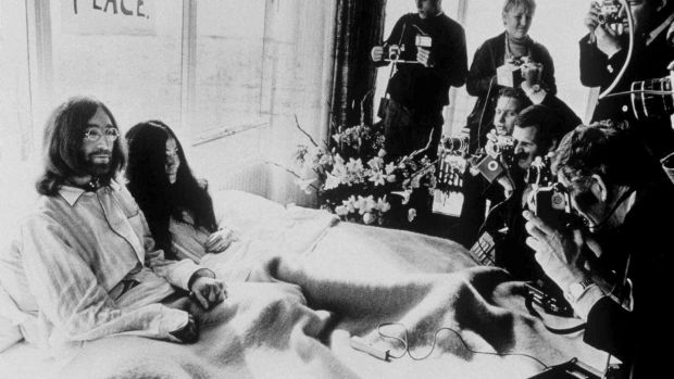John Lennon and Yoko Ono at the Hilton Hotel in Amsterdam in 1969. Photograph: AP