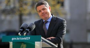 Minister for Finance Paschal Donohoe during a media briefing on Tuesday, on the   macroeconomic forecast for Budget 2021. It turns out that the impact of the pandemic has not been as cataclysmic as feared back in the spring.  Photograph: Gareth Chaney/Collins