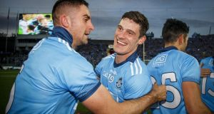 Diarmuid Connolly celebrates with Jame McCarthy after the 2019 All-Ireland SFC Final replay against Kerry at Croke Park. Photograph: Oisín Keniry/Inpho