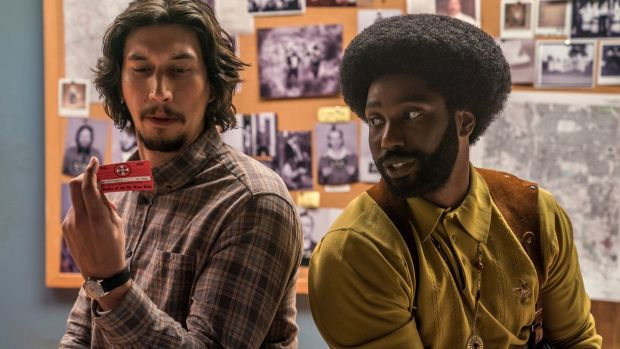 Adam Driver and John David Washington in BlacKkKlansman. Photograph: David Lee/Focus Features