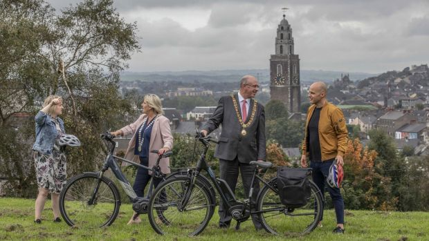 E-bike ambassadors Stevie G (right) and Deirdre O'Shaughnessy (left), partners in the Cork We-Bike campaign, with Mayor of Co Cork Cllr Mary Linehan-Foley and Lord Mayor of Cork, Cllr Joe Kavanagh, at the launch of the new wE-Bike campaign. Photograph: Clare Keogh