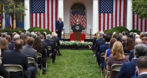 President Trump at the nomination ceremony  in the White House Rose Garden on Saturday, September 26th.   At least eight of those present later test positive. Photograph:   Olivier Douliery/ AFP via Getty