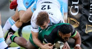 Connacht's Bundee Aki scores a try in their Pro14 win over Glasgow Warriors. Photo: Billy Stickland/Inpho