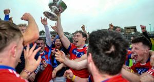 St Thomas' captain Conor Cooney celebrates with the Tom Callanan Cup. Photograph: Inpho