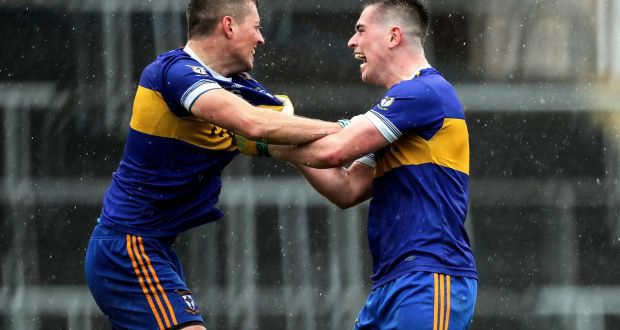 Ratoath's Fionn Reilly and Seanie Curran celebrate at the final whistle. Photograph: Inpho