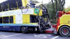 The Dublin Bus vehicle is towed away from the scene after the crash. Photograph: Bryan O'Brien / The Irish Times